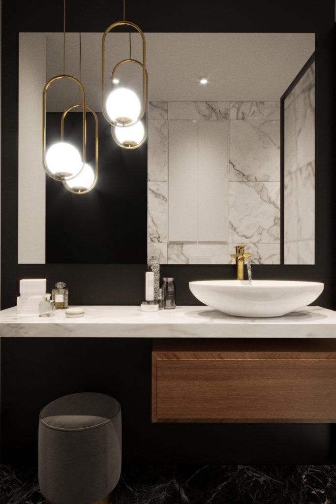 Projekt łazienki w kolorze czarnym