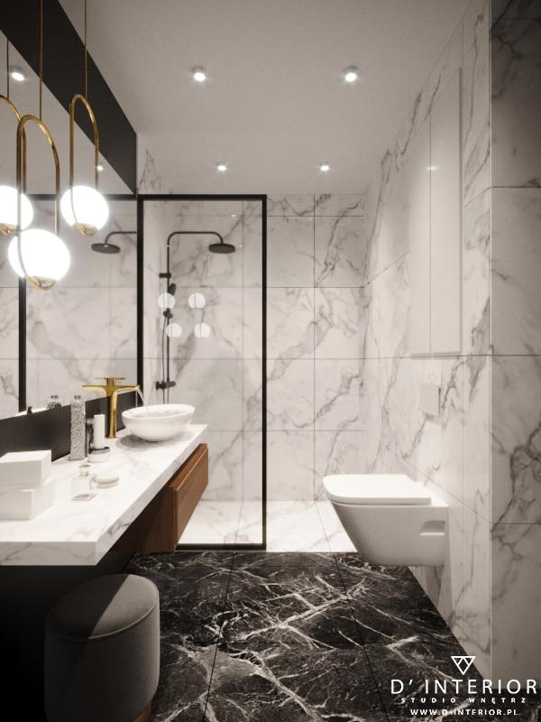 Projekt łazienki Gdynia z białymi płytkami
