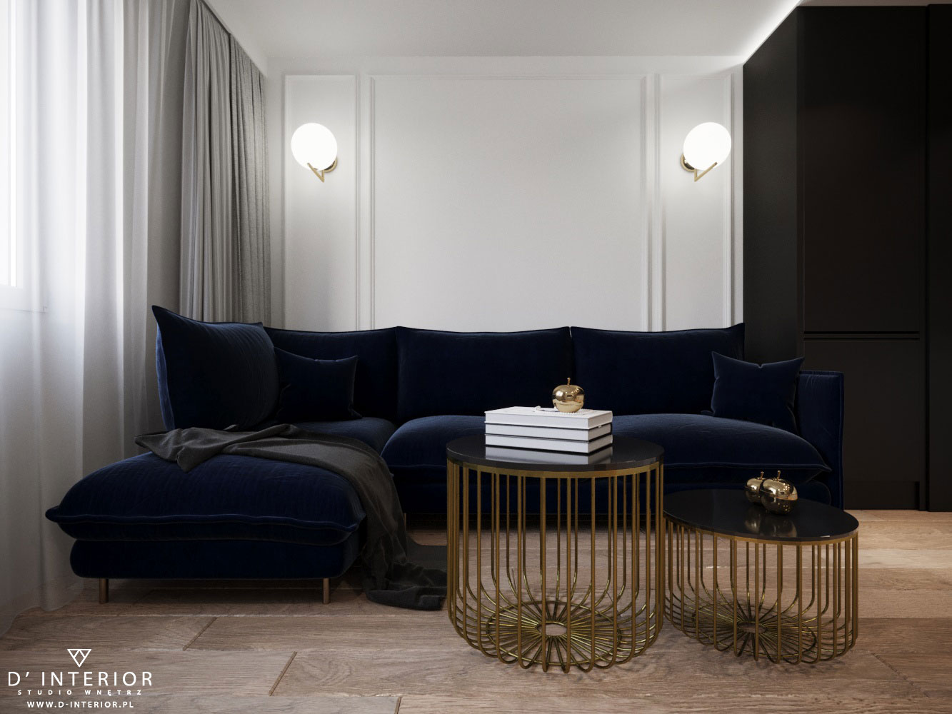 Projekt salonu z granatową kanapą