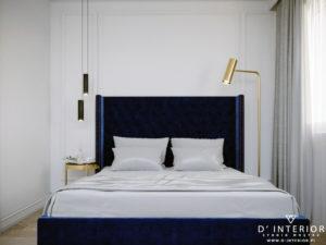 Projekt sypialni ze złotymi dodatkami