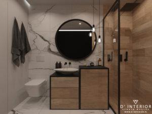 projekt łazienki w marmurze z drewnem