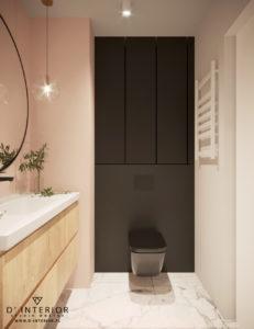 Projekt łazienki z czarnym WC