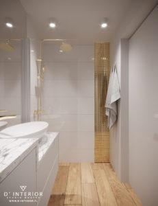 projekt łazienki ze zlotem
