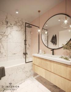 Marmurowa łazieka w kolorze bieli z rózem