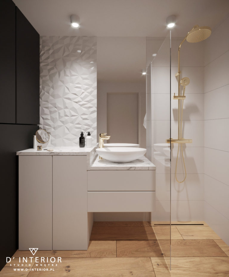 projekt biało czarnej łazienki