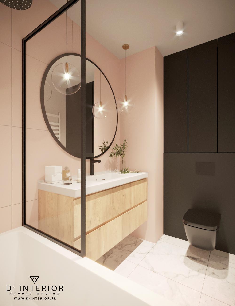 Łazienka w kolorze czarno rozowym