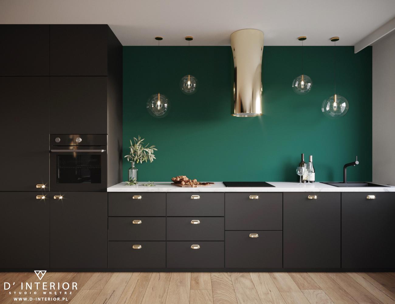 Projekt kuchni czarno zielonej