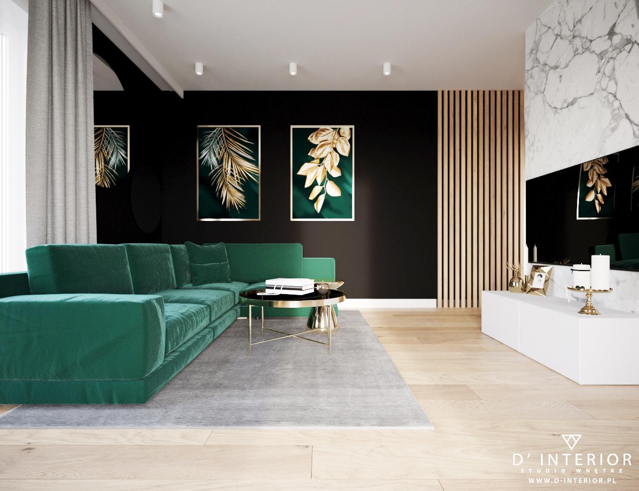 Projekt salonu zielono czarny