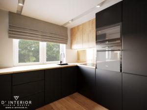 projekt czarnej kuchni z drewnem