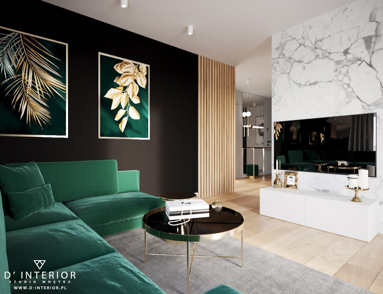 Projekt salonu z zieloną kanapą