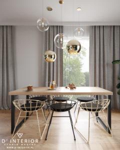 Stół jadalniany ze wiszącymi lampami kule