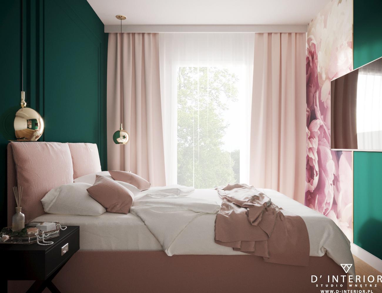 Projekt sypialni w butelkowej zieleni