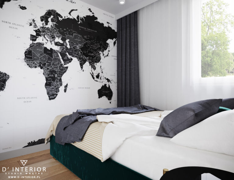 mapa świata w sypialni