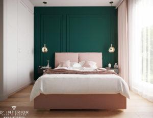 Projekt różowo zielonej sypialni