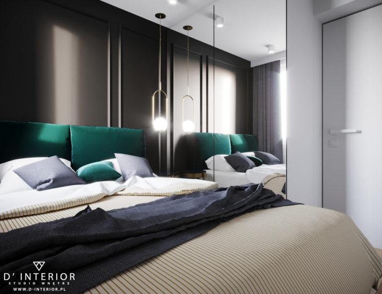 projekt małej sypialni w kolorze czarno zielonym