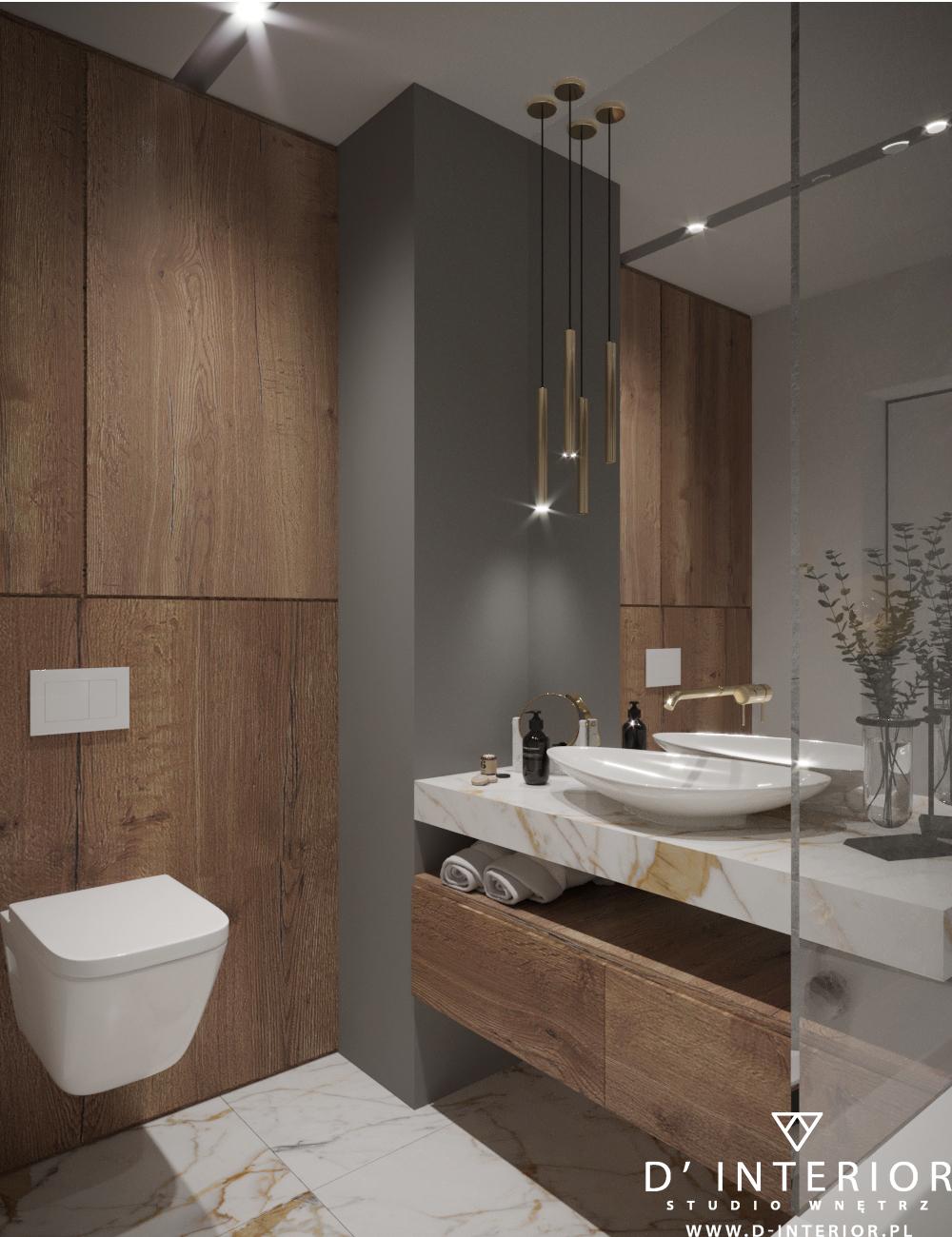 Projekt łazienki szarej z drewnm