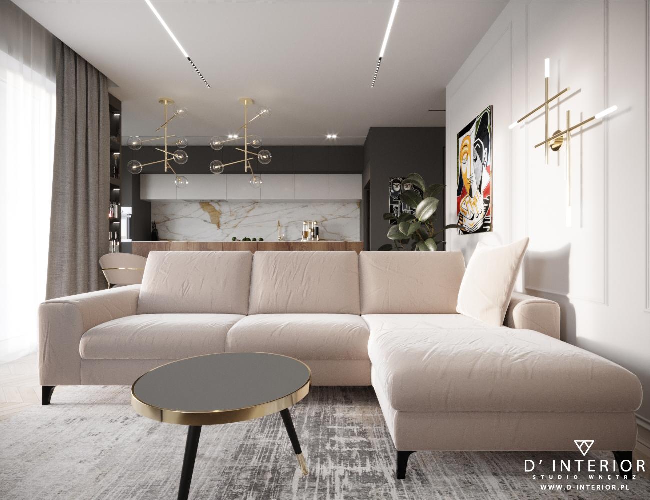Mieszkanie z bezowa sofa