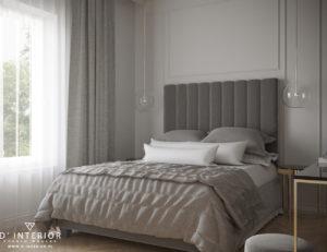 Projekt sypialni z szarym łózkiem