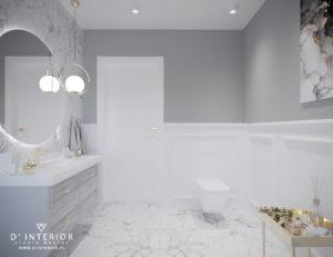 Projekt klasycznej łazienki szaro-białej