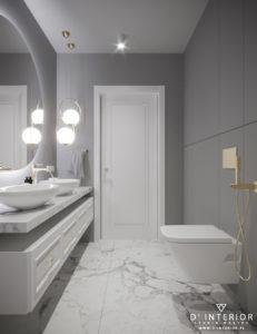 Projekt nowoczesnej łazienki w kolorze szarym
