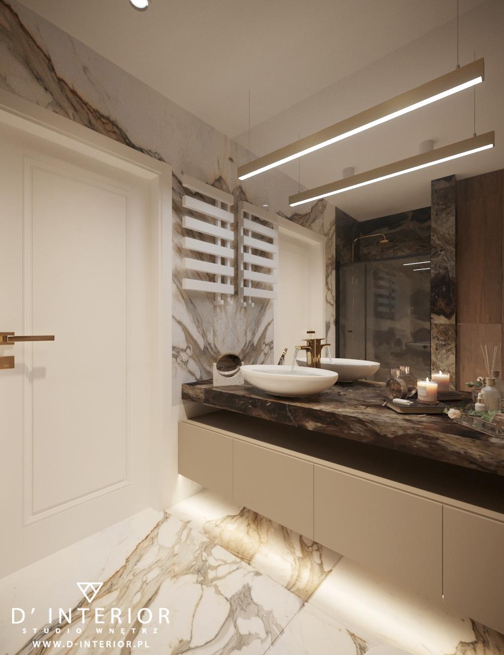 Projekt eleganckiej jasnej łazienki