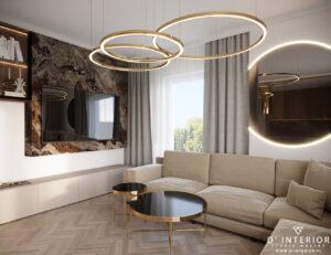 Bezowy salon z marmurem