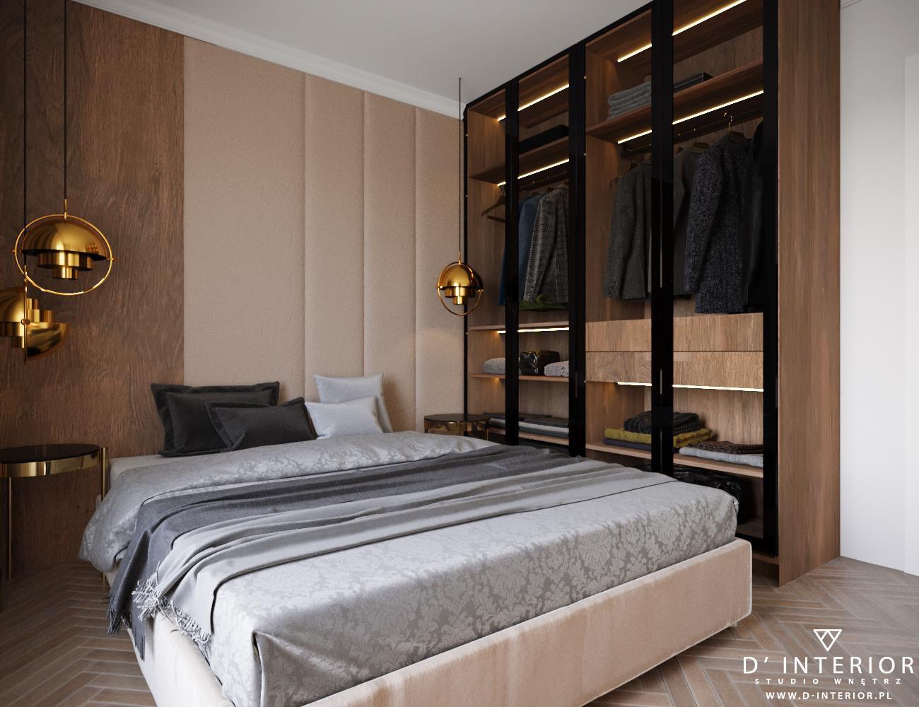 Sypialnia w drewnie i bezach