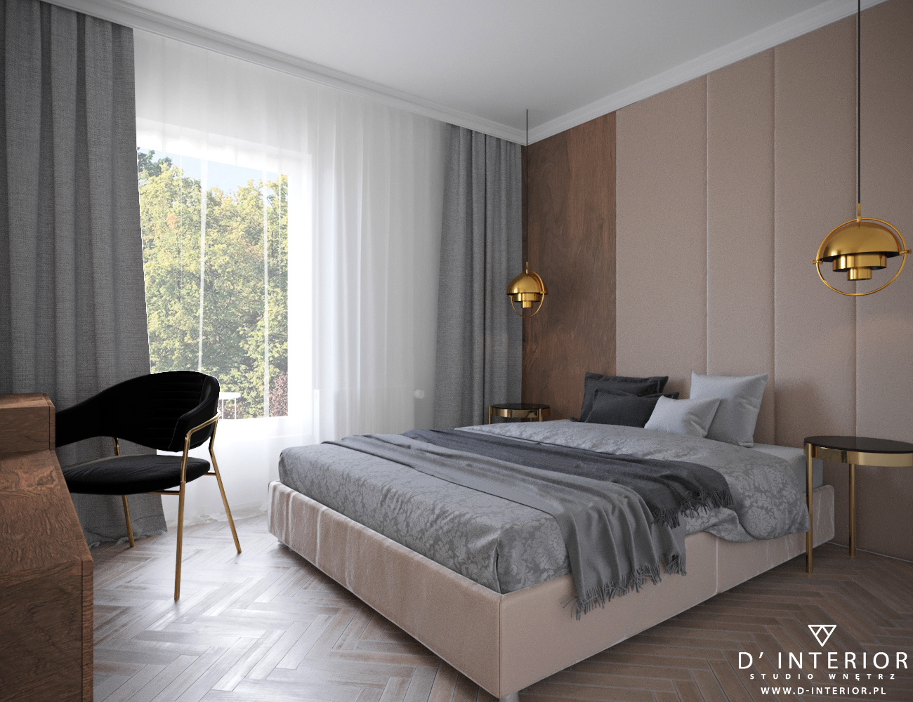 Projekt sypialni w bezowym kolorze