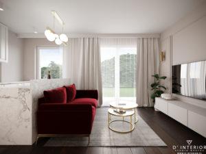 Projekt salonu z czerwoną sofą