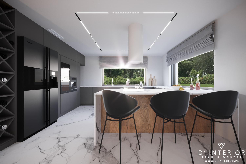 Projekt kuchni wykonane przez studio D' INTERIOR.