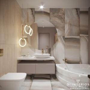 Nowoczesna łazienka w ciepłych odcieniach