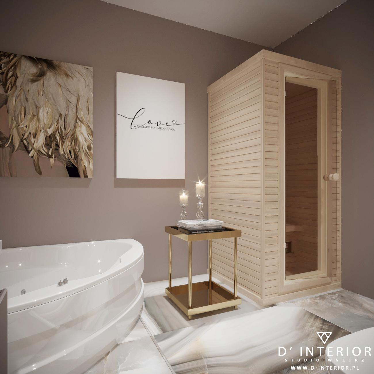 Łazienka w wanną narożną oraz sauną