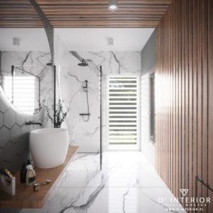 Projekt łazienki z marmurem i drewnem