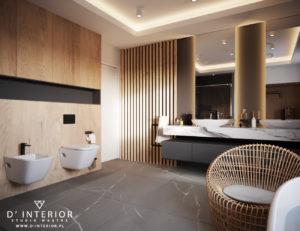 Projekt łazienki w graficie i drewnie