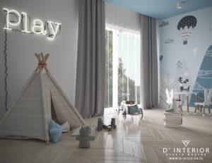 Pokój dziecięcy w kolorze niebieskim