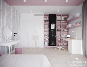 Pokój nastolatki w kolorze rózowym