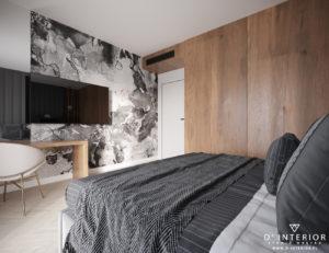 Tapeta czarno biała w sypialni w Gdyni