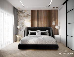 Sypialnia z tapicerowanym łozkiem