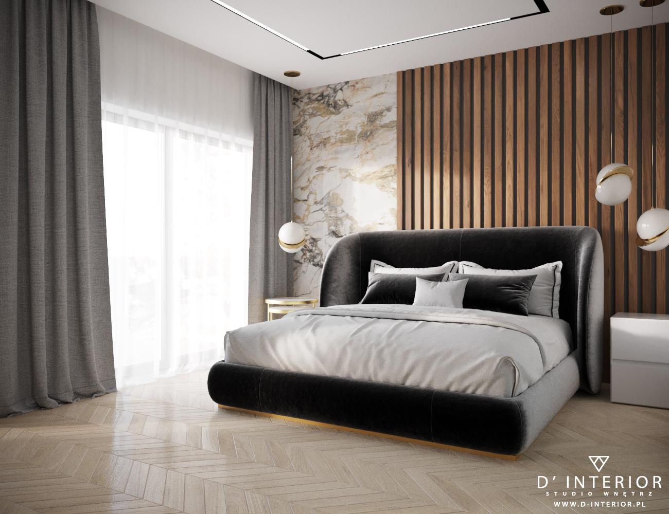 Nowoczesna sypialnia z listwami w Koleczkowie