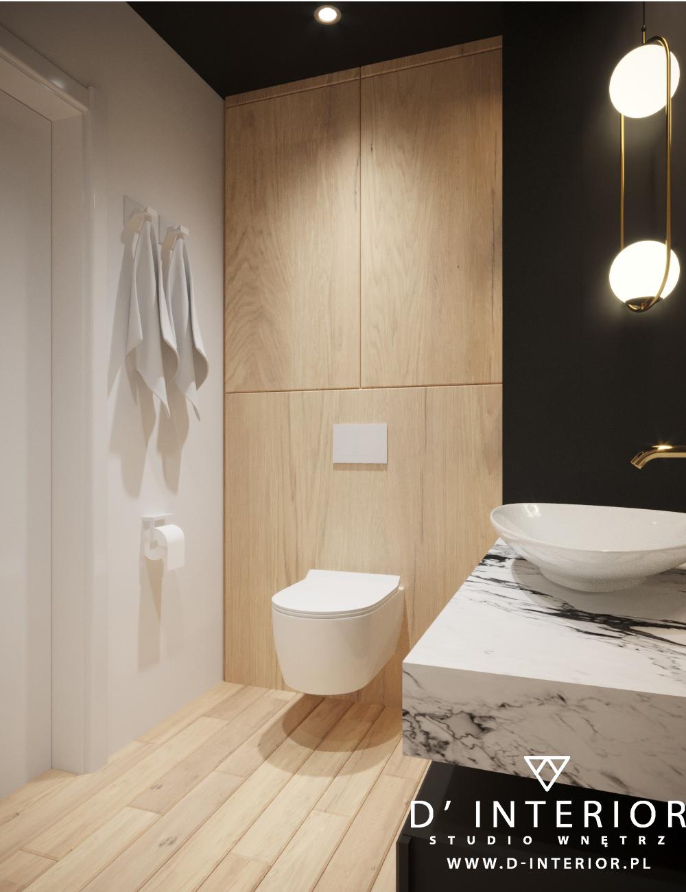 Czarna łazienka z drewnem w Gdyni