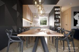 Projekt salonu z czarnym sufitem w Gdańsku