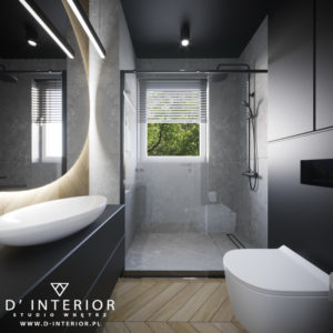 Projekt nowoczesnej łazienki w szarościach z drewnem w Gdańsku