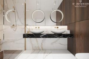 Projekt łazienki z dwoma umywalkami