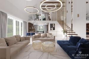 Projekt salonu z wysokim sufitem