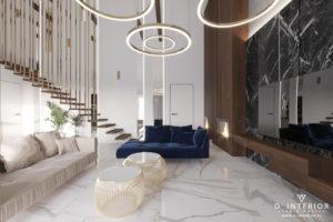 Granatowa sofa w salonie