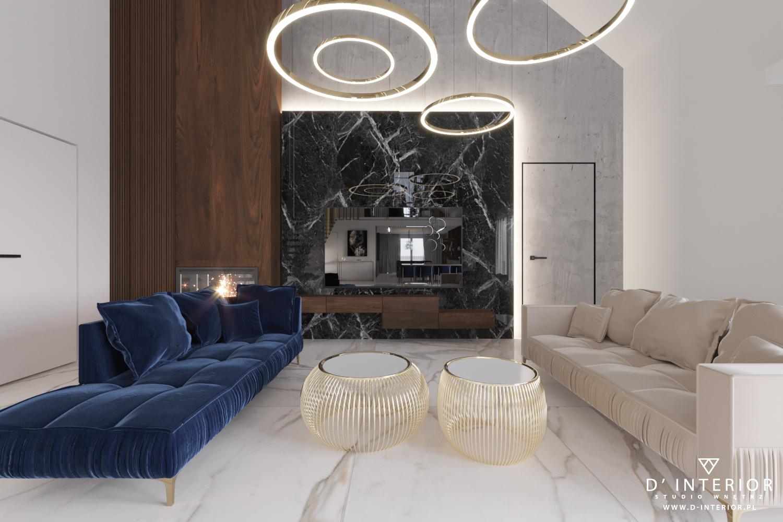 Projekt salonu z wysoką antresolą