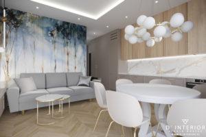 Projekt salonu z aneksem kuchennym w Gdańsku