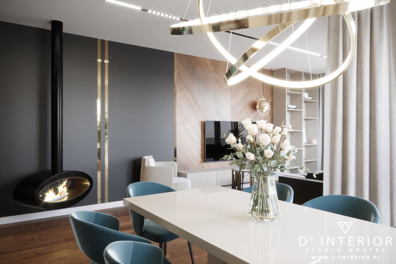 Projekt jadalni z designerską lampą w Warszwie