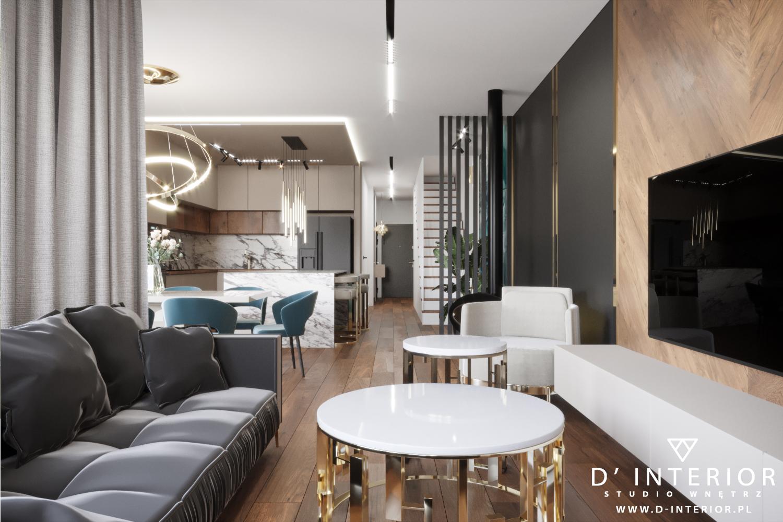 Projekt salonu z kuchnią w Warszawie