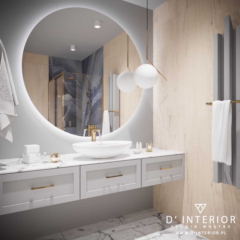 Projekt łazienki z dużym okrągłym lustrem w Gdańsku